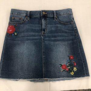 J. CREW Denim Embroidered Skirt Size 6